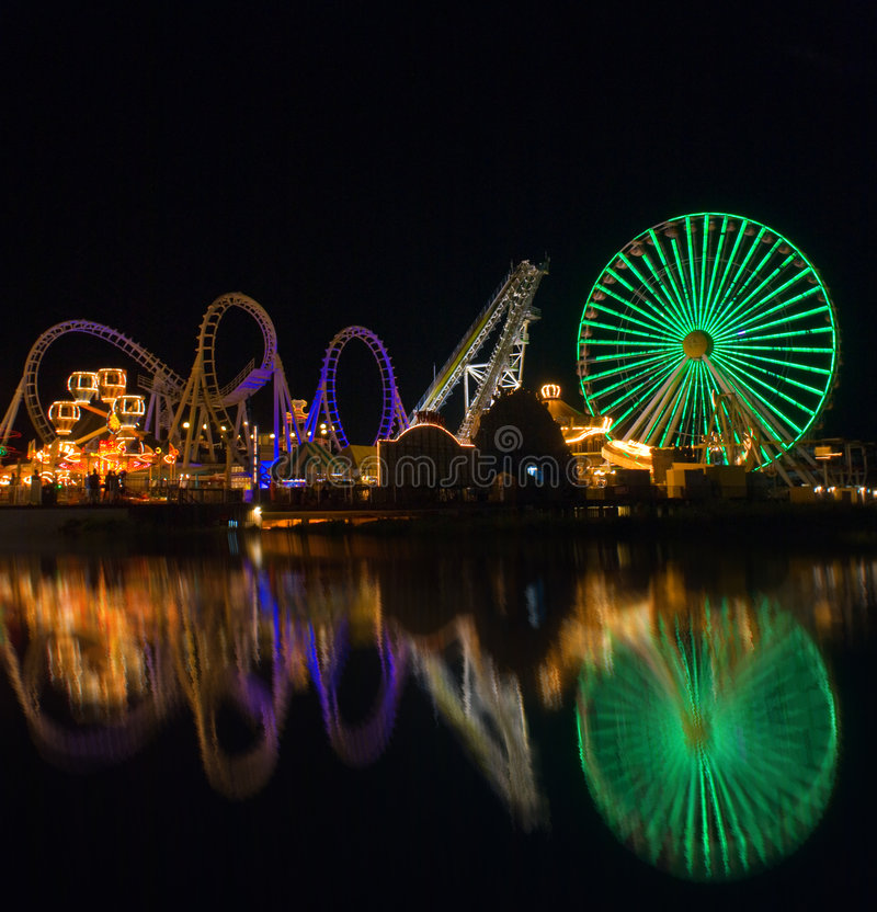 Download Amusement Pier reflection stock image. Image of leisure - 5821593
