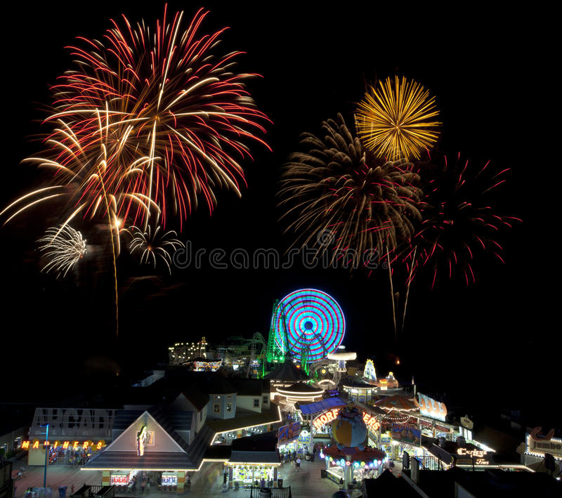 Amusement Ride & Fireworks stock image