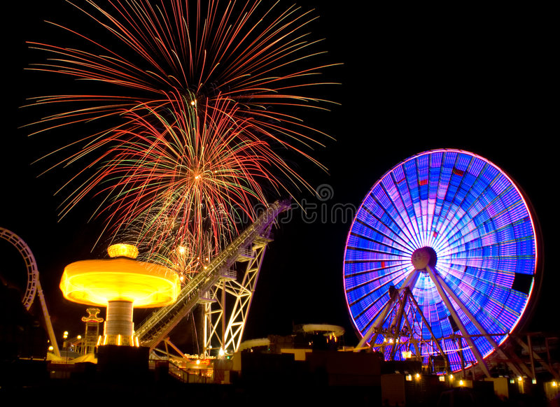 Download Amusement Ride & Fireworks Royalty Free Stock Photos - Image: 5802348