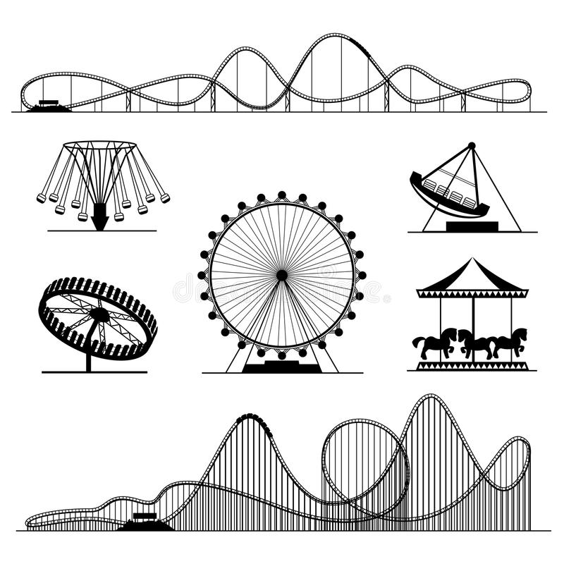 Free Amusement Ride Or Luna Park Roller Coasters Entertainment Vector Set Royalty Free Stock Images - 83923789