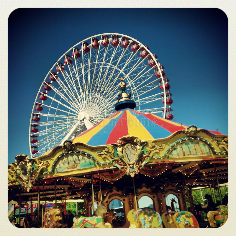 Amusement Rides. In Navy Pier Chicago stock photos