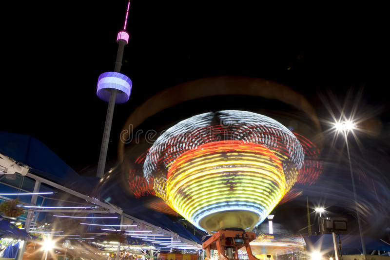 Amusement rides at night