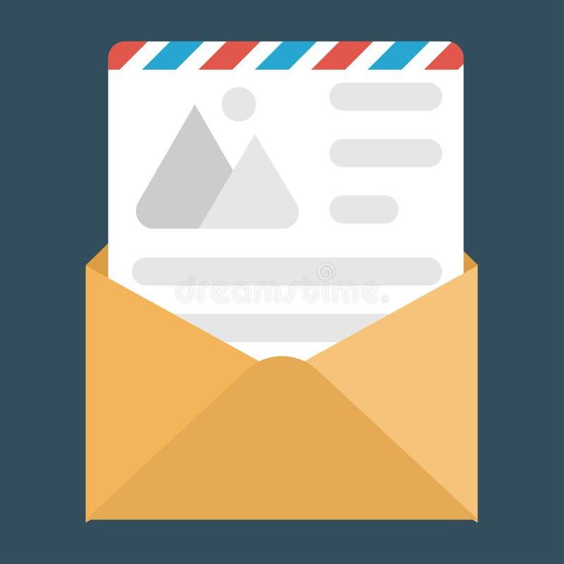 Amusement une enveloppe ouverte avec le document, concept d'icône plate de lettre images stock