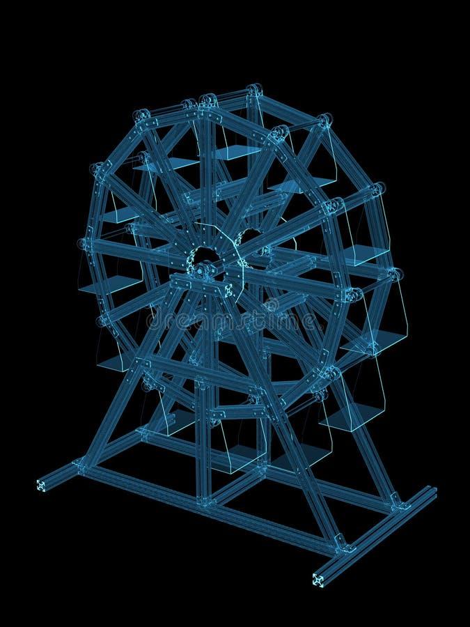 Download Amusement Wheel 3D Rendered Xray Blue Stock Illustration - Illustration of detail, dimensional: 18068059