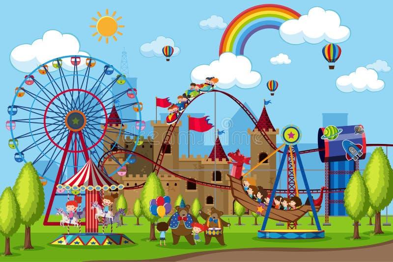 Amusementspark met kinderen op straat royalty-vrije stock foto's