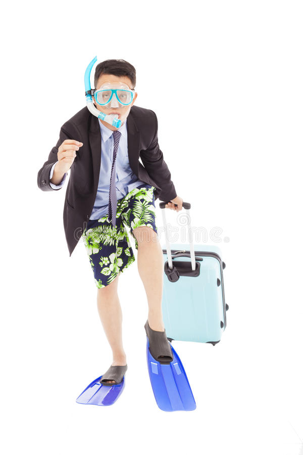 Amusing businessman running pose and carrying baggage stock image