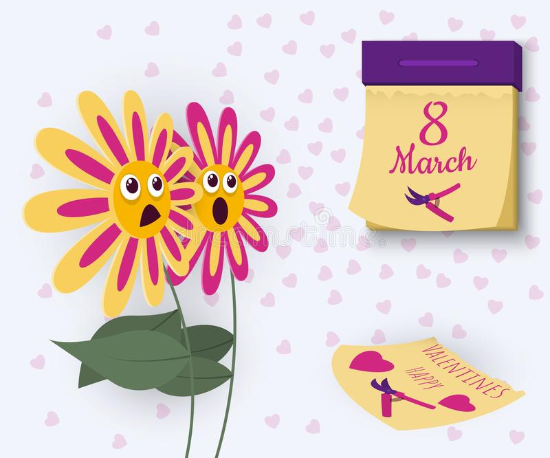 An amusing concept of the relationship of colors to the holidays of the eighth of March and Valentine`s Day. vector illustration