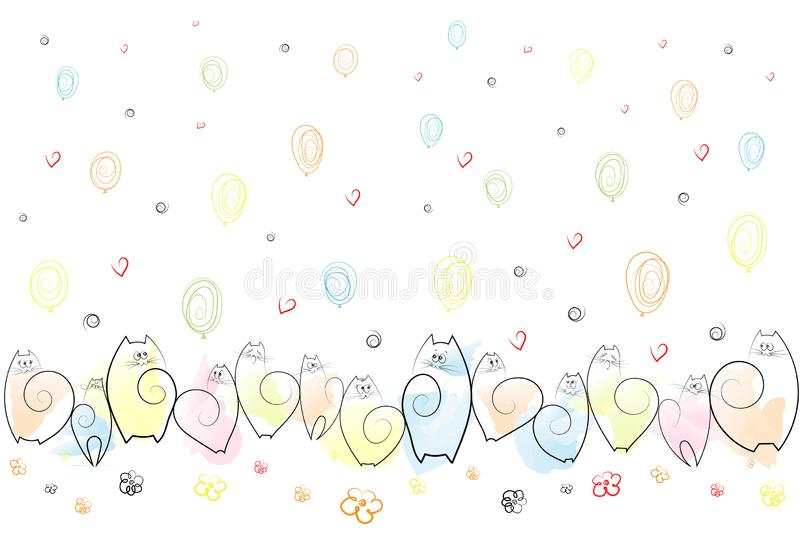 Amusing emotional cats on a festive background of balloons, flowers, hearts, spirals Drawing Sketch Background Vector vector illustration