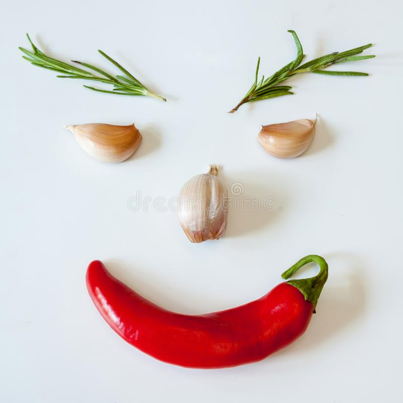 Amusing face from spices. Amusing face from spices - garlic, chili pepper and rosemary royalty free stock photography