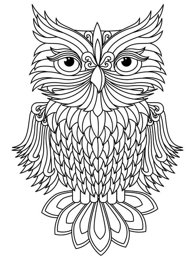 Amusing owl black outline vector illustration