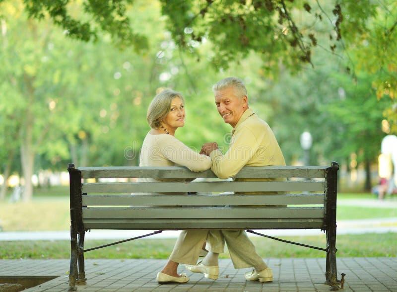 Amusing senior couple. Sitting on bench in park royalty free stock image