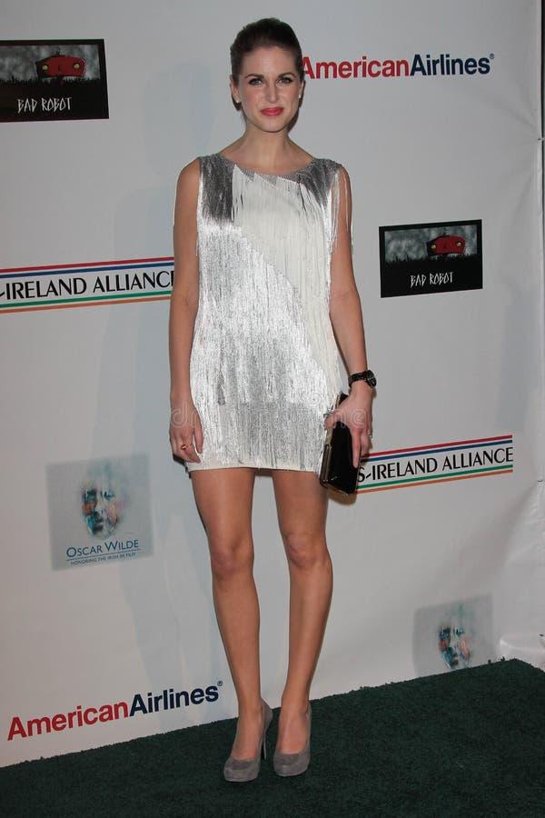 Amy Huberman em honras de Oscar Wilde da aliança dos E.U. Ireland, robô ruim, Santa Monica, CA 02-23-12 imagem de stock royalty free