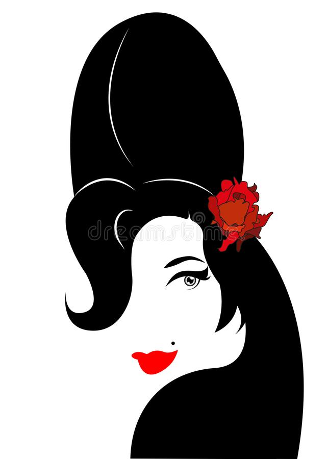 Amy Winehouse - minimalist version, vector portrait of jazz singer. Isolated or white background