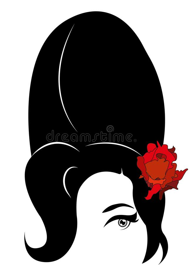 Amy Winehouse - minimalist version, vector portrait of jazz singer stock illustration