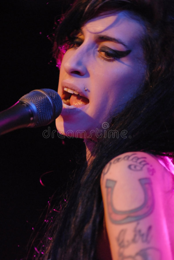 Amy Winehouse performing live stock photo