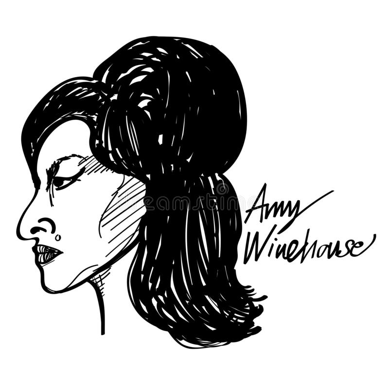 Amy winehouse vector cartoon illustration black and white drawing royalty free illustration