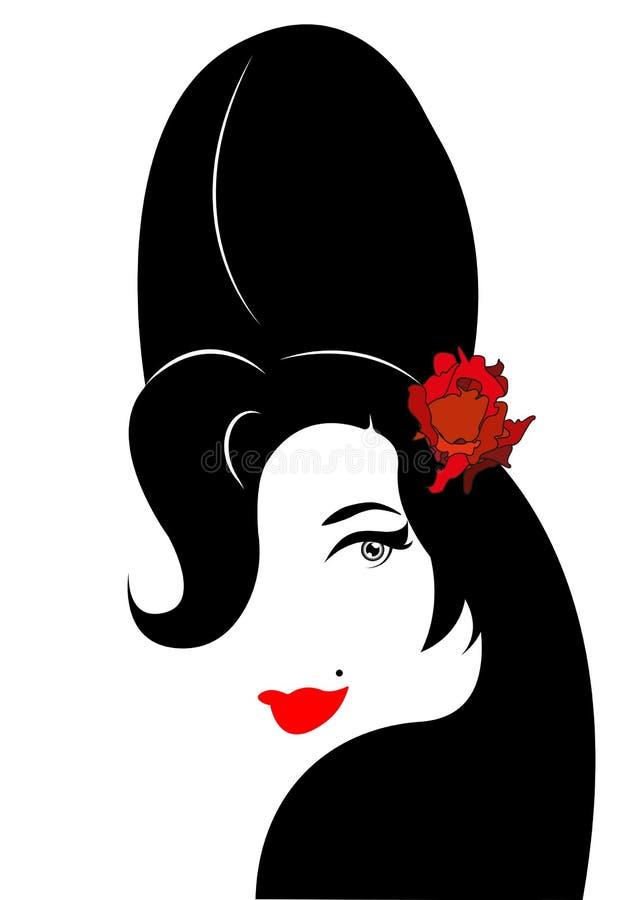 Amy Winehouse - versión minimalista, retrato del vector del cantante del jazz stock de ilustración