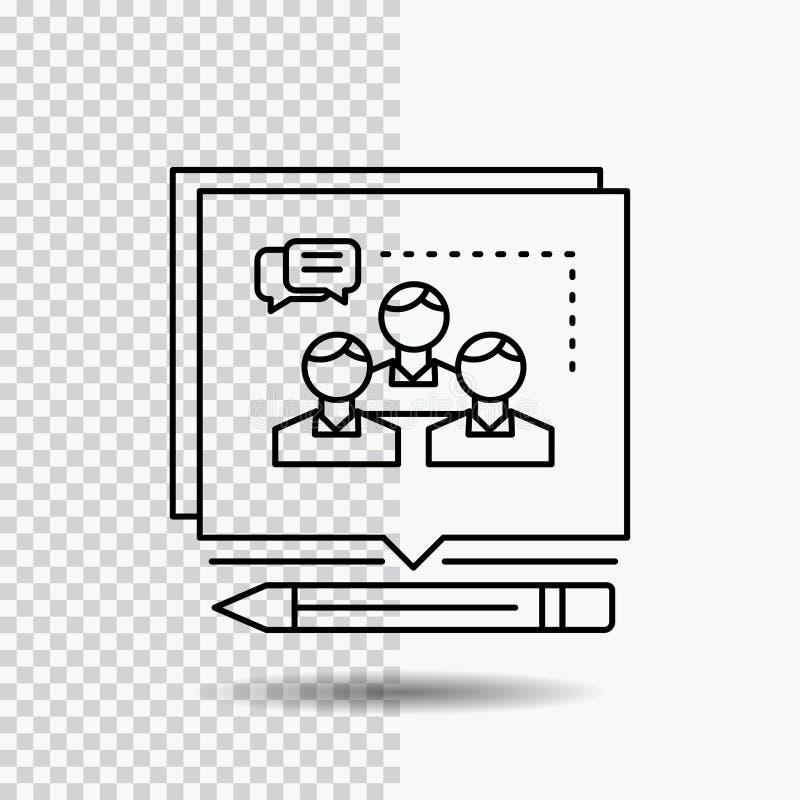 A análise, argumento, negócio, convence, debate a linha ícone no fundo transparente Ilustra??o preta do vetor do ?cone ilustração do vetor