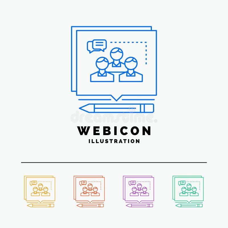 A análise, argumento, negócio, convence, debate a linha de cor 5 molde do ícone da Web isolado no branco Ilustra??o do vetor ilustração do vetor