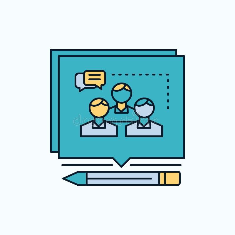 A análise, argumento, negócio, convence, debate o ícone liso sinal e s?mbolos verdes e amarelos para o Web site e o appliation m? ilustração stock