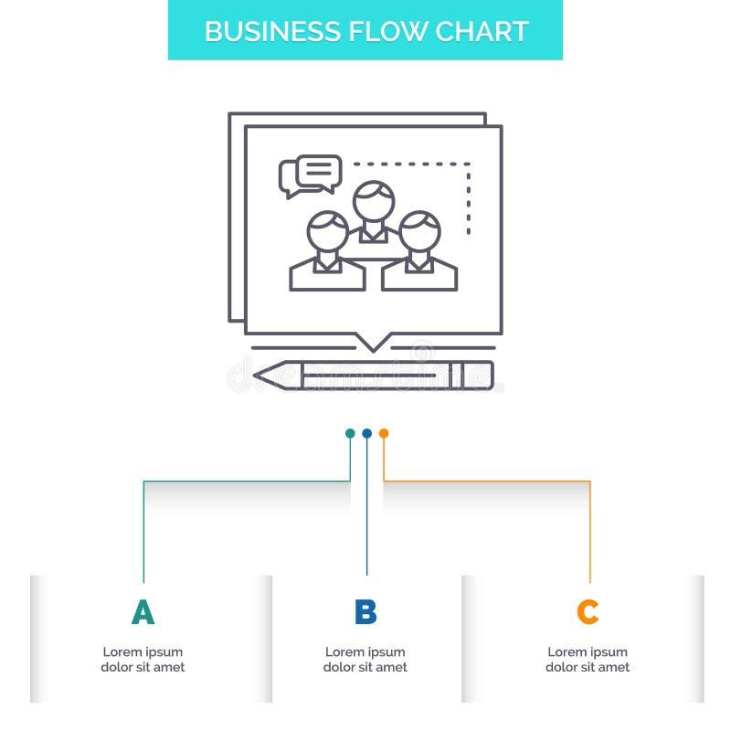 A análise, argumento, negócio, convence, debate o projeto do fluxograma do negócio com 3 etapas Linha ?cone para o fundo da apres ilustração do vetor