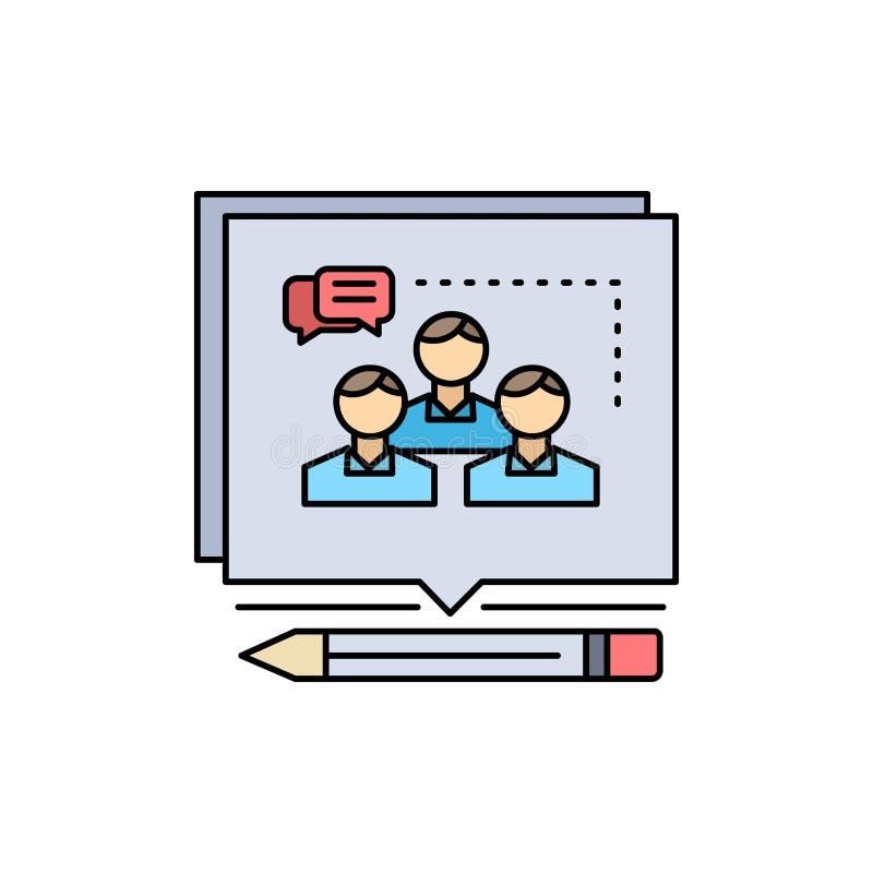 A análise, argumento, negócio, convence, debate o vetor liso do ícone da cor ilustração do vetor