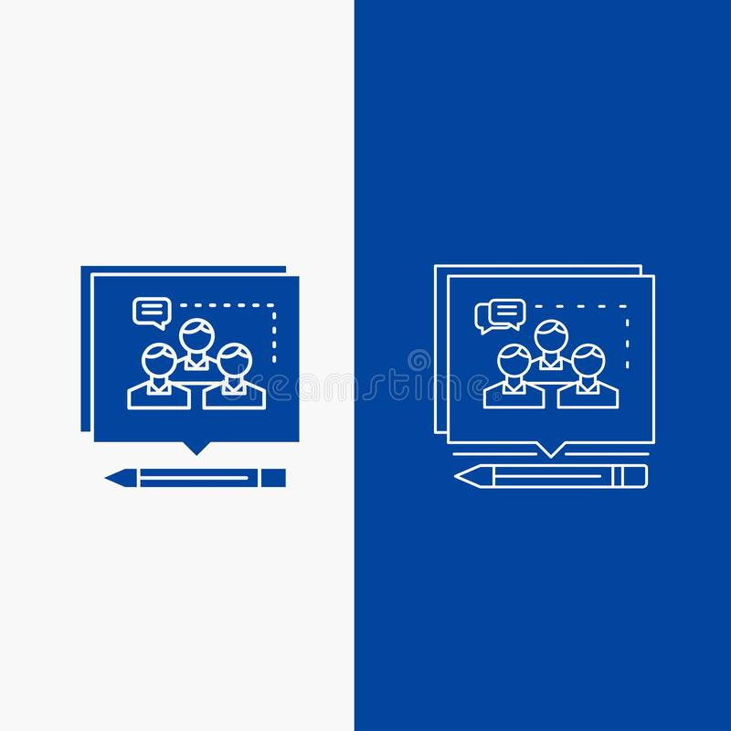 Análise, argumento, negócio, para convencer, debater botão da Web da linha e do Glyph na bandeira vertical da cor azul para UI e  ilustração do vetor