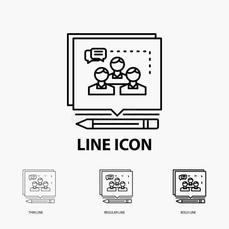 Análise, argumento, negócio, para convencer, debater o ícone na linha estilo fina, regular e corajosa Ilustra??o do vetor ilustração stock