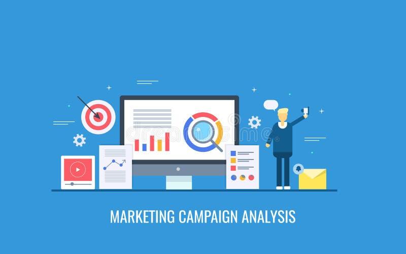 Análise da campanha de marketing, dados do cliente, monitoração da informação, segmentação de mercado-alvo, conceito do perfil do ilustração stock