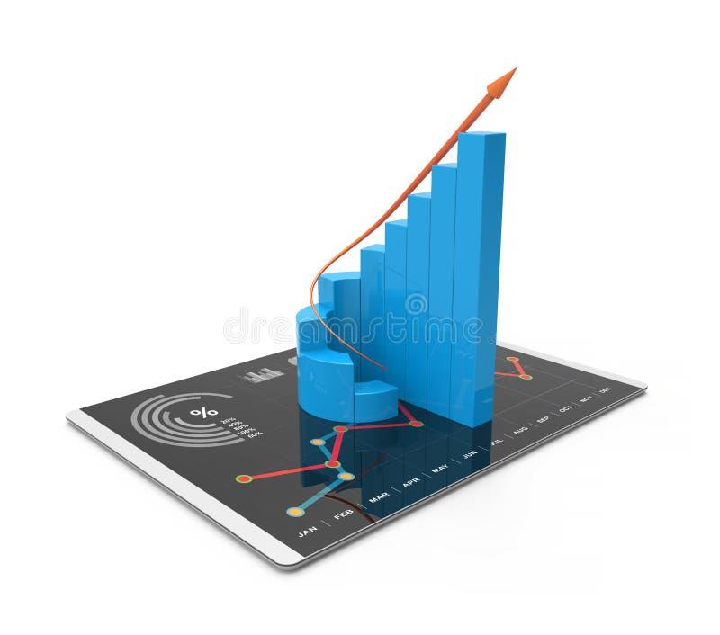 análise da rendição 3D dos dados financeiros nas cartas - vista geral gráfica moderna das estatísticas ilustração royalty free