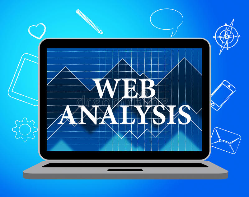 A análise da Web mostra a analítica e o analista dos dados ilustração stock