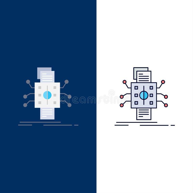 Análise, dados, referência, processamento, relatando o vetor liso do ícone da cor ilustração stock