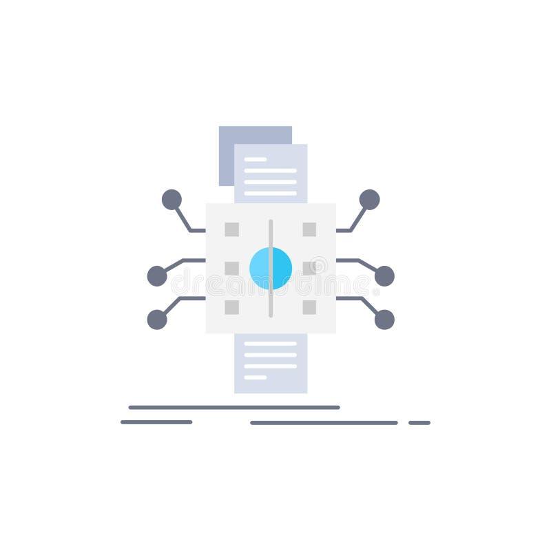 Análise, dados, referência, processamento, relatando o vetor liso do ícone da cor ilustração do vetor