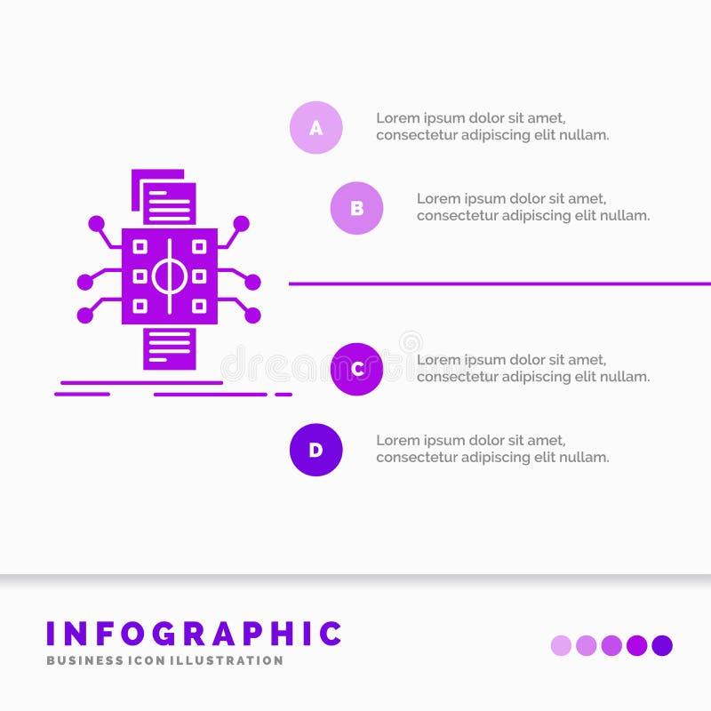 Análise, dados, referência, processando, relatando o molde de Infographics para o Web site e a apresentação ?cone roxo do GLyph i ilustração do vetor