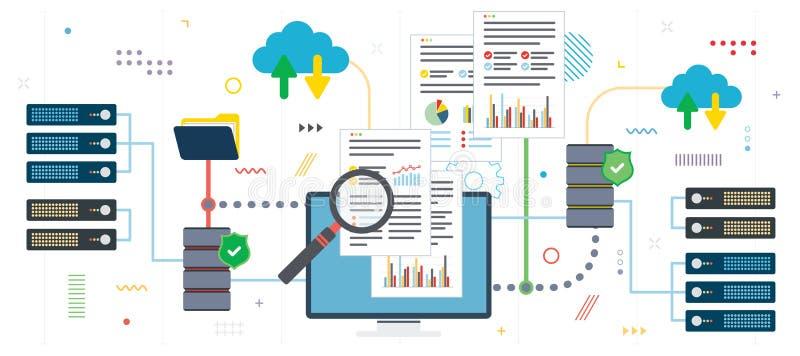 Análise de dados e computação grandes da nuvem ilustração stock