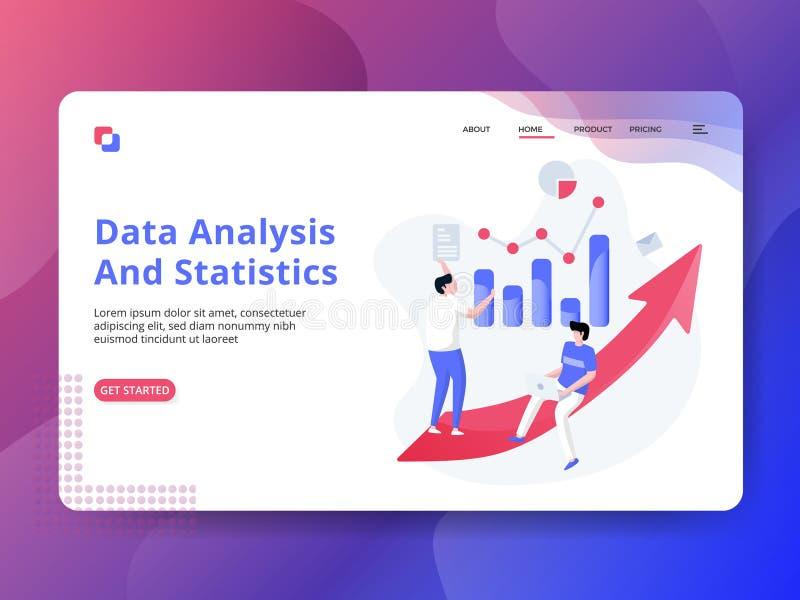 Análise de dados e estatísticas de aterrissagem da página ilustração royalty free