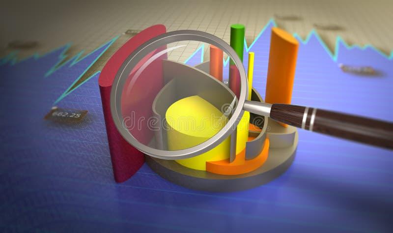 Análise de dados financeiros nas cartas ilustração stock