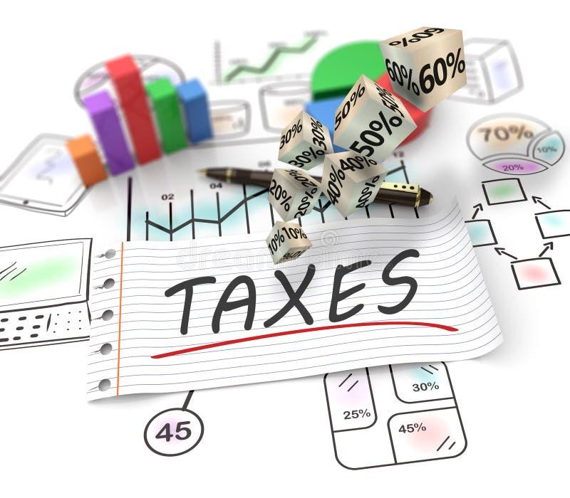 Análise de dados financeiros nas cartas, contabilidade, declaração de rendimentos ilustração royalty free