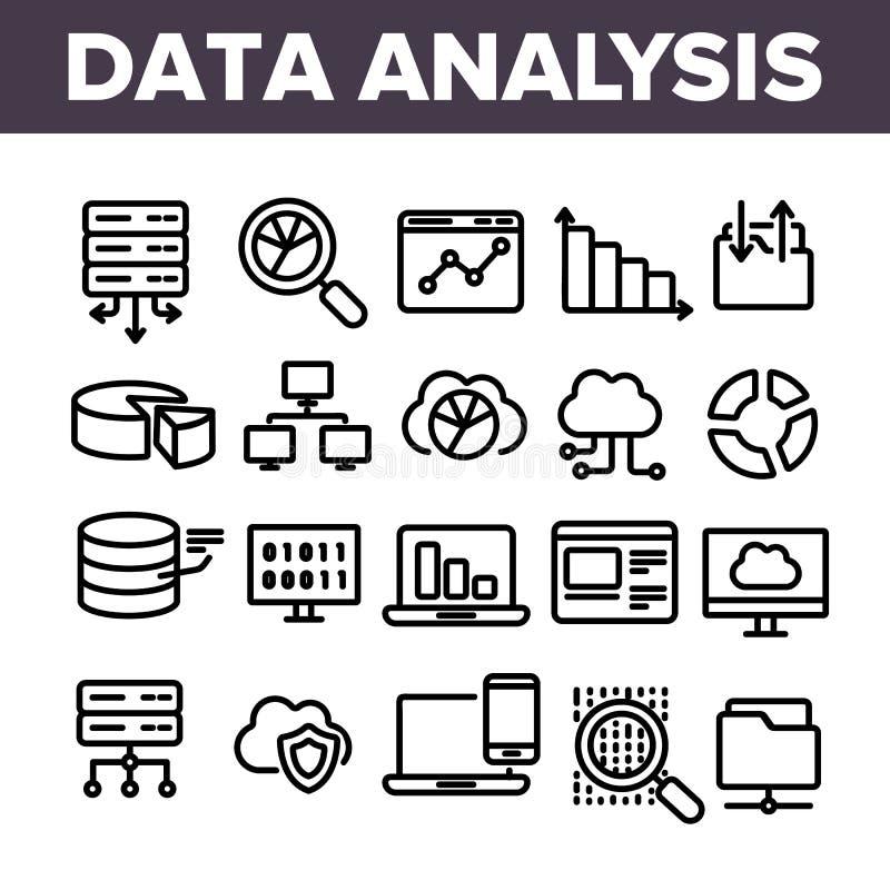 Análise de dados, grupo linear dos ícones do vetor do armazenamento da Web ilustração do vetor