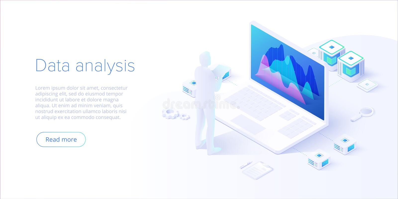 Análise de dados no projeto isométrico do vetor Técnico no fundo da sala do centro do datacenter ou de dados Unidade central da r ilustração stock