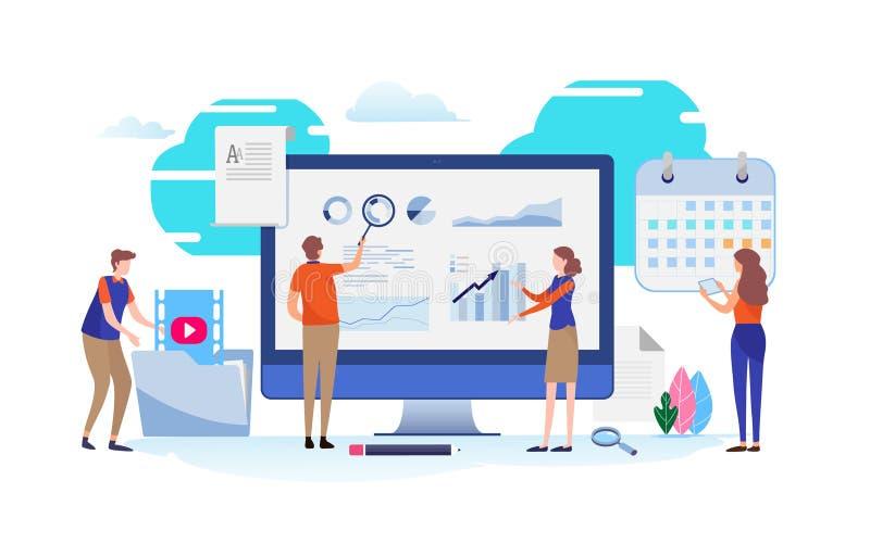 Análise de dados Programação do plano de negócios gráfico, carta de torta, gráfico da informação Vetor diminuto da ilustração dos ilustração royalty free