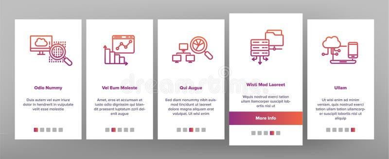 Análise de dados, tela móvel da página do App de Onboarding do vetor do armazenamento da Web ilustração stock
