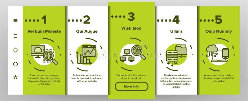 Análise de dados, tela móvel da página do App de Onboarding do vetor do armazenamento da Web ilustração royalty free