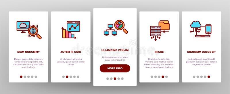 Análise de dados, tela móvel da página do App de Onboarding do vetor do armazenamento da Web ilustração do vetor