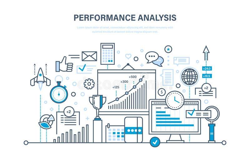 Análise de desempenho Grupo de estudos de mercado, pesquisa, estatística, troca de informação, cálculos ilustração do vetor