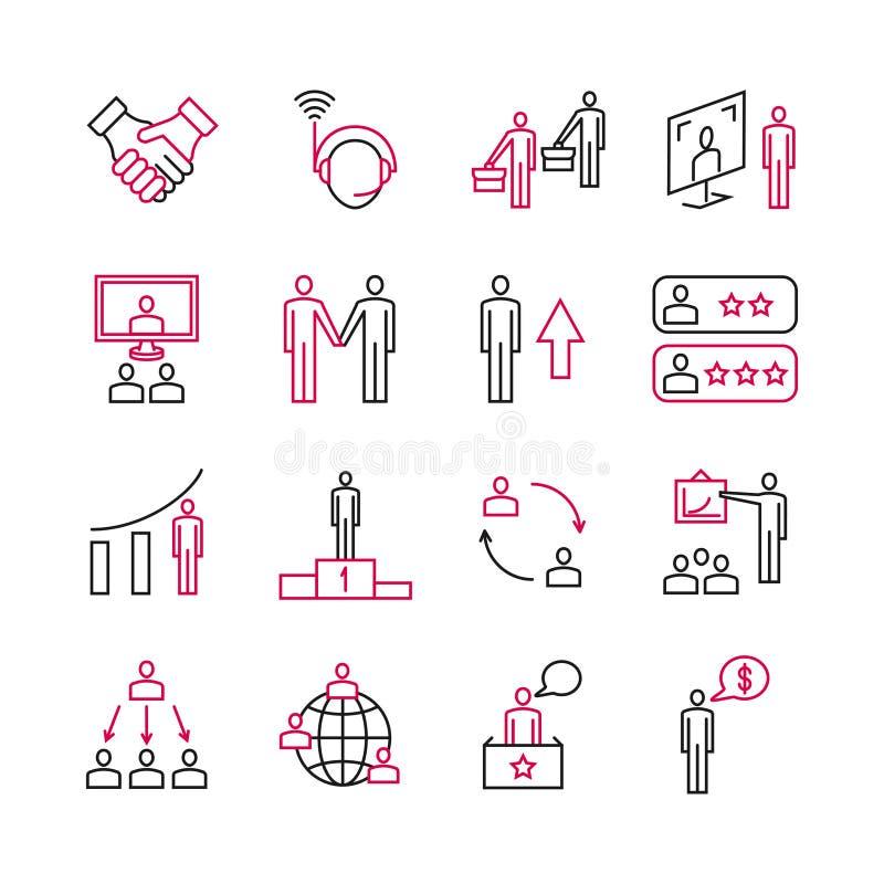 A análise de negócio e o apoio perito dos clientes, dos trabalhos de equipa e da liderança vector pictograma ilustração stock