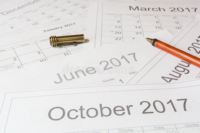 Análise de um calendário imagens de stock