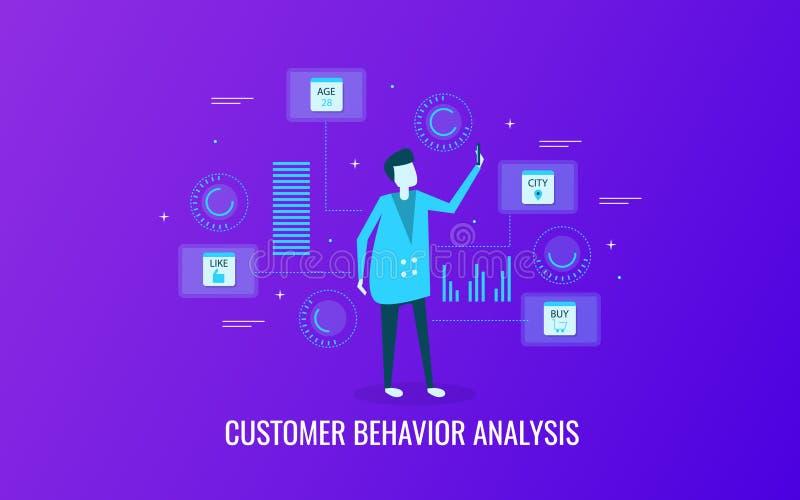 Análise do comportamento do cliente, dados do cliente, informação, analítica, monitorando o conceito Bandeira lisa do vetor do pr ilustração do vetor