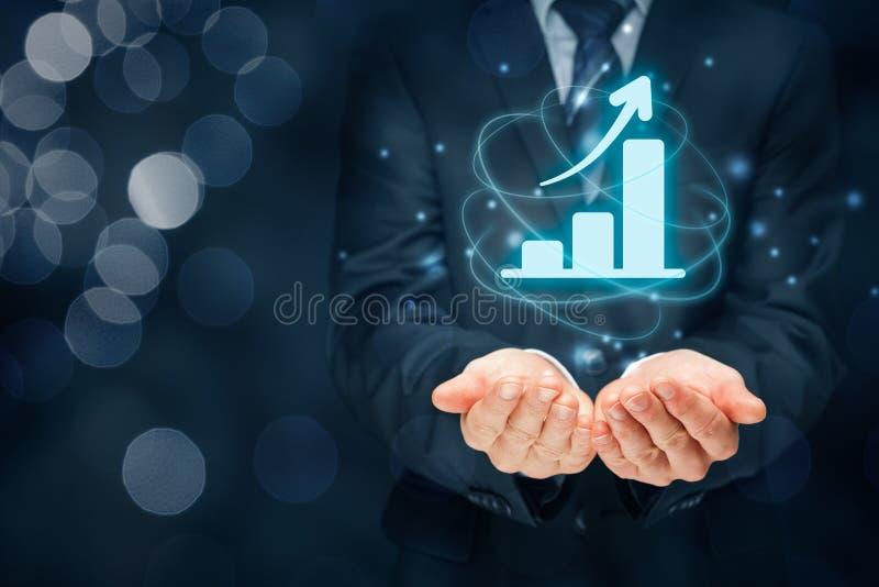 Análise do crescimento do negócio fotografia de stock