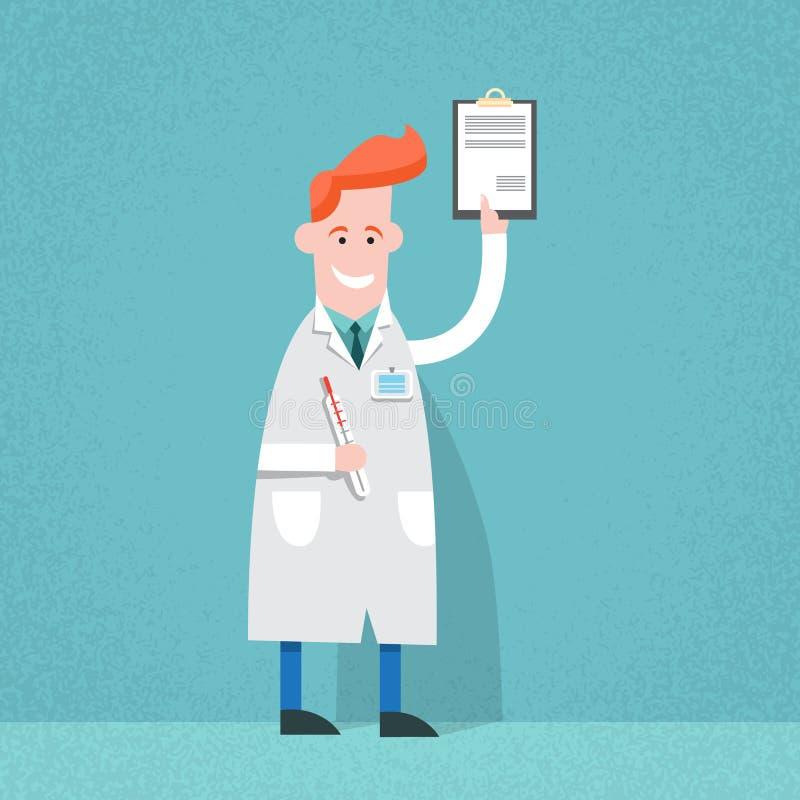 Análise do médico Holding Paper Document ilustração stock
